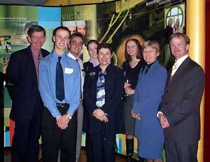 (l - r) Dr Dennis Gunning, Ben Falzon, Antony Svasek, Stacey Darby, Minister Lynne Kosky, Emma Lewis, Helen Praetz, Timothy Piper, Victoria Director - AIG