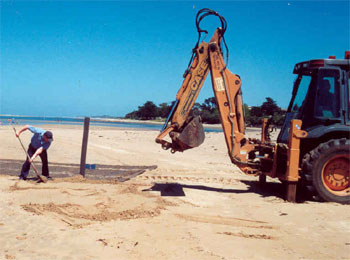 Council officers install the new mammoth mat at Inverloch