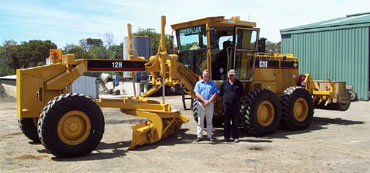 Fred Huitema and Charlie Ware from Council's Operations Team, with Council's new grader.
